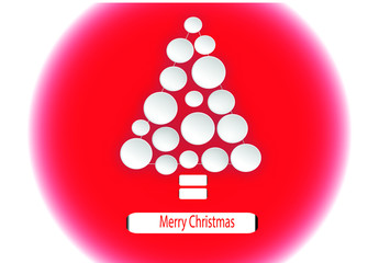 christmas  tree with rounds on red background
