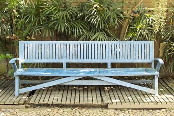 Antique Wooden Blue Bench