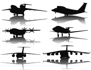 Aircraft vector silhouettes collection