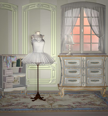 Elegant vintage atelier with dummy