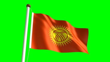 Kyrgyzstan flag (seamless & green screen)