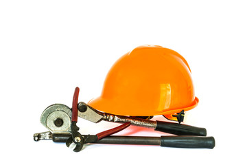 yellow safety helmet and tools