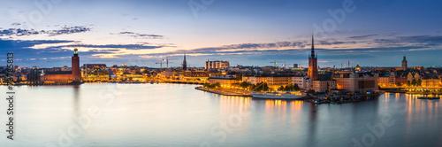 Leinwanddruck Bild Scenic summer night panorama of  Stockholm, Sweden