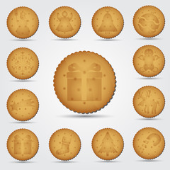 set of christmas brown biscuit with symbols eps10