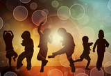 Fototapety Dancing children silhouettes