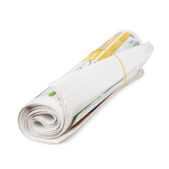 Roll of newspapers.
