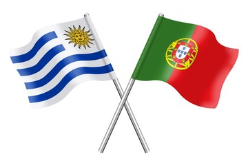 Flags: Uruguay and Portugal