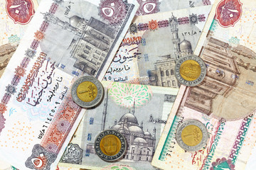 Money from Egypt, pound banknotes and coins.