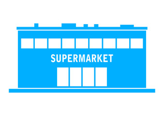 Blue supermarket icon on white background