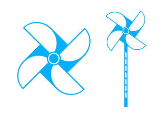 Blue pinwheel icon on white background