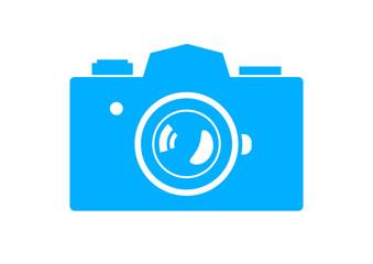 Blue camera icon on white background