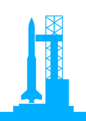 Blue rocket icon on white background