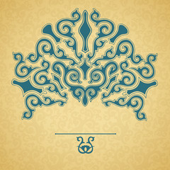 Blue ornament, gold background.