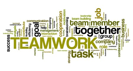 Teamwork. Word cloud concepts.