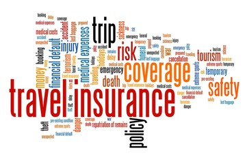 Travel insurance. Word cloud concepts.