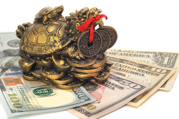 Chinese dragon turtle symbol of money on the bills
