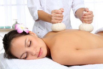 Masseur doing massage
