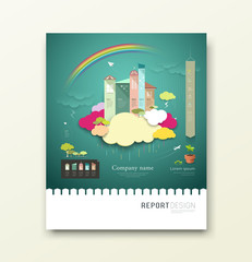 Cover Report colorful paper house and clouds ecology concept