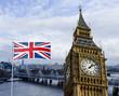 Obrazy na płótnie, fototapety, zdjęcia, fotoobrazy drukowane : London Composing Big Ben, Themse und Nationalflagge