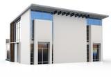 3d modern duplex house poster