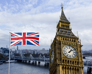 London Composing Big Ben, Themse und Nationalflagge