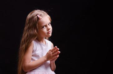 Five-year girl make a wish