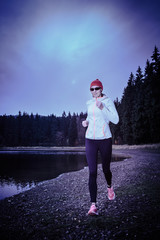 Jogging by the lake