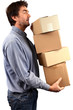 Homme portant des cartons