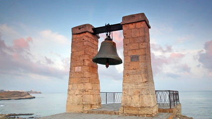 Alarm ancient bell on the bank of the Black Sea, Chersonese, Sev