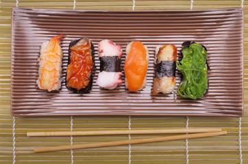 Sushi nigiri, Japanese cuisine with bamboo sticks