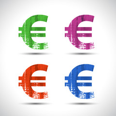 Euro flat icon. Grunge style. Vector illustration.