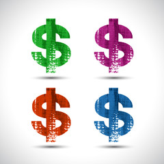 Dollar flat icon. Grunge style. Vector illustration.