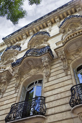 Facade of a stylish mansion in Bordeaux, France