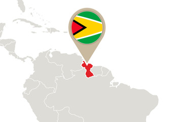 Guyana on World map