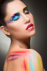 beautiful woman. make-up colour paint painting,