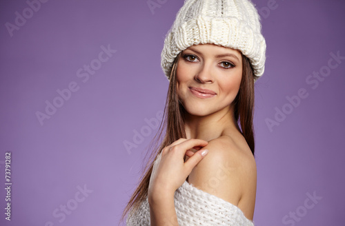 canvas print picture beautiful woman in warm clothing