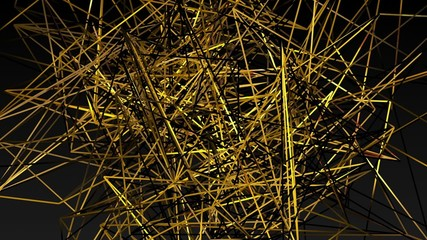 Abstract yellow lines on a black background