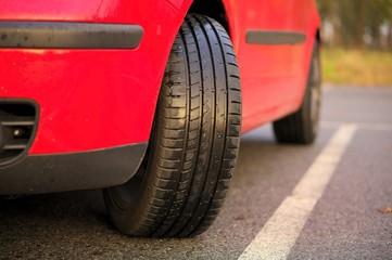 Sports car tyre for rain.