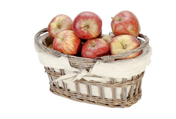 Woven Lined Wicker Basket Filled with Red Apples
