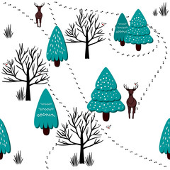 Winter forest scenery pattern, vector