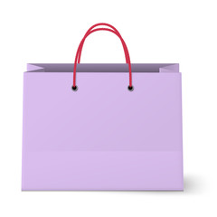 Violet shopping paper bag isolated on white