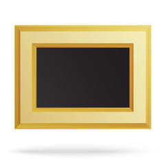 Golden frame for painting or picture isolated on white