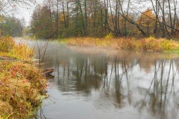 Autumnal mist over Vorskla river in Ukraine