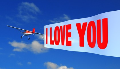 """airplane with banner """"i love you"""""""