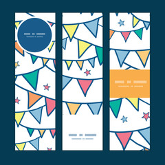 Vector colorful doodle bunting flags vertical banners set