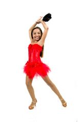 Beautiful dancer with Spanish red dress and fan