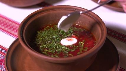Ukrainian cuisine borscht with sour cream