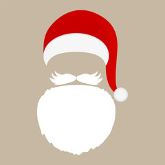 Santa Claus cap, beard and mustache