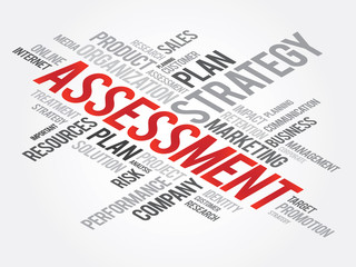 Word Cloud with Assessment related tags, vector business concept