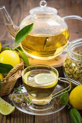 Hot chamomile tea with lemon